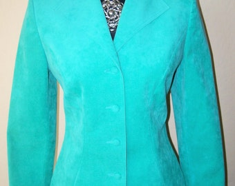 Vintage Adolf Schuman for Lilli Ann Ultra Suede Mint Skirt Suit
