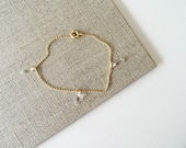 Dagues - gold filled tiny crystal point bracelet, dainty bracelet, tribal bracelet