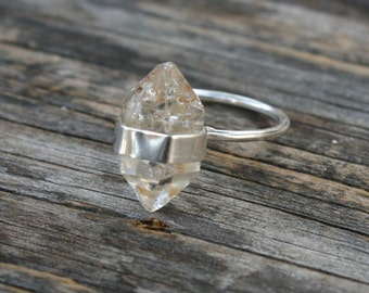 Herkimer Diamond Crystal Banded Sterling Silver Ring - Size 7/8