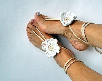 White crochet anklets Wedding Barefoot sandal Boho Anklets Nude shoes foot jewelry Accessories women Yoga anklets White Bohemian Summer