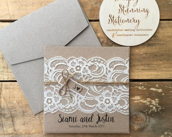 Rustic Wedding Invitation - Rustic Vintage Lace Square Invitation SAMPLE