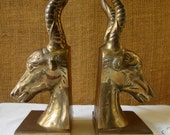 Vintage BRASS RAM HEAD Bookends Heavy Cast Brass Ram Head Bookends Pair Bookends Gothic Brass Bookends