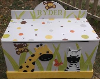 Zoo Animals, Giraffe, Zebra, Lion, Hippo, Kids Furniture, Toy Boxes, Toy Chest, Boys toy box, Wood Toy Storage, Personalized, Jungle, Safari