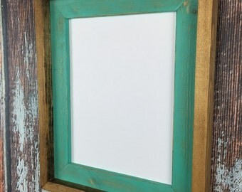 85 x 11 aqua rustic weathered stacked and stained picture frame rustic home decor - Document Frames