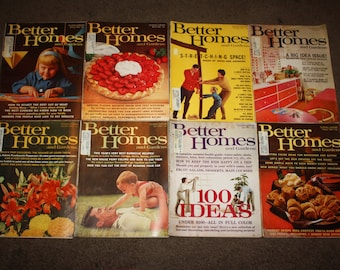 Lot of 8 Better Homes and Gardens magazines from 1964; Interior Decorating, Kitchens