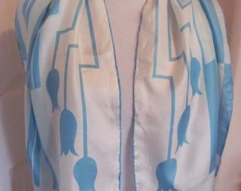 "Sally Gee // Beautiful Vintage Blue White Silk Scarf // 15"" x 44"" Long"