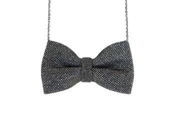 Black Sparkle Bow Tie Necklace, Girls Bowtie, Black Bow Necklace
