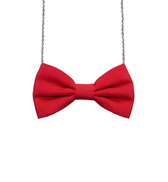 Simple Red - Bow Tie Necklace,  Girls Bowtie, Bow tie for Women and Girls, Custom Chain Necklace Bowtie, Double Folded BowTie, Dress Up