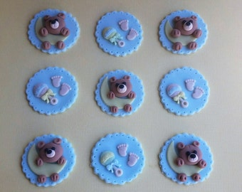 Baby Shower Baby Boy Cupcake toppers Fondant Set