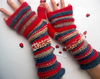 HAND KNITTED GLOVES / Women Accessories Fingerless Mittens Striped Warm Wrist Warmers  Crochet Winter Arm Romantic Cabled Gift Feminine 960