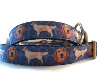 Golden retriever dog collar. Engraved pet tag included with each dog collar.