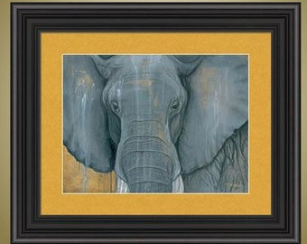 PRINT or GICLEE Reproduction -- Elephant Print, Elephant Face Closeup, Realism - Never Forgets, Never Forgotten Print