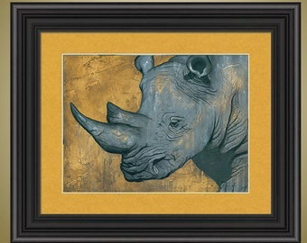 PRINT or GICLEE Reproduction -- Limited Edition Rhino Print, Rhino Face Closeup - Only 50 Signed Available - Immovable Force Print