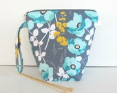 Knitting / Crocheting Project Bag, Socks Zippered Wedge Bag, Large Mouth Pouch in Grey Aqua Yellow