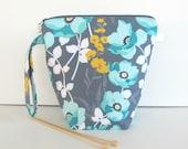 Tricot / crochet projet sac, chaussettes Wedge avec fermeture éclair sac, pochette grande bouche en gris jaune Aqua