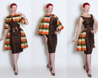 FABULOUS 1950s Vibrant 3 Piece Silk Cocktail Ensemble - Hourglass Dress, Cropped Bolero, Over Skirt / Cape - Madras Plaid & Chocolate - M