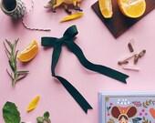 Bow Clips Fall Hair Bows , Vintage Hair Ribbon style in Evergreen, giddyupandgrow