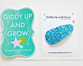 Blue Glitter Snap Clip, Hair Bows for girls, BLACK FRIDAY SALE, giddyupandgrow