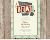 Bowling Birthday Party Invitation, Retro Bowling Party Invitation, Bowling Invite, Personalized Bowling Invitation