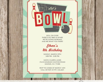 Bowling Birthday Party Invitation, Retro Bowling Party Invitation, Bowling Invite, Personalized Bowling Invitation