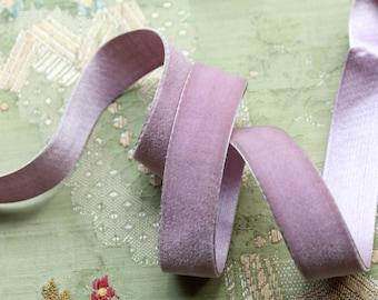 "1 yard antique 7/8"" wide silk velvet ribbon soft violet lilac purple shade ribbonwork dress millinery hat trim flapper edwardian"