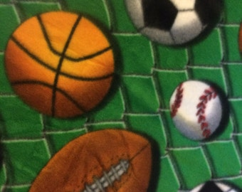 Sports Balls on Green with Black Handmade Blanket - Ready to Ship Now