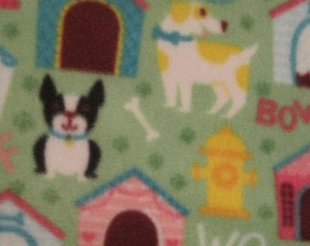 Handmade Blanket - Dogs, Bones, Fire Hydrants, Houses on Green with Maroon - Ready to Ship Now