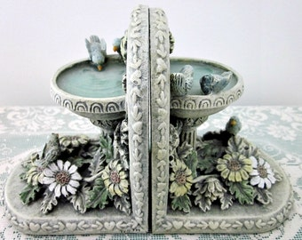Vintage  Birds in Flower Garden Bookends by The Resin Shop - Cottage Chic, Ladies Decor Bookends - Sunroom Decor - Girls Decor - Bobann23