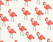 Cream and Coral Pink Flamingo Cotton Lawn Fabric, Les Fleurs by Rifle Paper Co for Cotton and Steel, Flamingos in Ivory 1 Yard