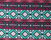Neon Pink Teal and Black Diamond Geometric Stripe Liverpool Knit Fabric, 1 yard