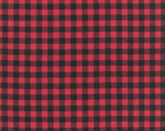 Red and Black Robert Kaufman Burly Beavers Plaid Flannel, 1 Yard