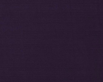 Solid Eggplant Purple 4 Way Stretch 9oz Cotton Lycra Jersey Knit Fabric, 1 Yard