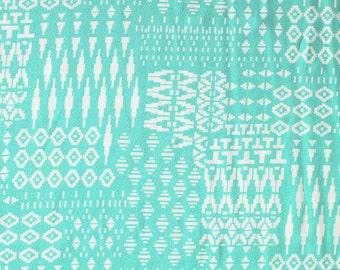 Aqua and White Abstract Geometric Rayon Challis, 1 Yard