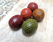 Colorful Bead set for jewelry making, earth tones beads, Polymer Clay Beads, Artisan Beads, Art Beads, warm tones Beads, Carved Beads