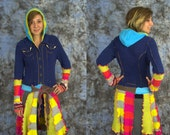 Upcycled Sweater Coat- Long Sweater Coat-Harajuku Style-Patchwork Sweater Coat-Recycled Sweater Coat- Sweater Coat With Hood