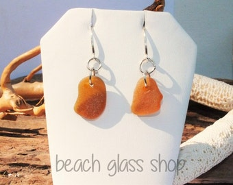 Sea Glass Earrings -  Lake Erie Beach Glass Earrings - Amber Glass Earrings - FREE Shipping inside the United States