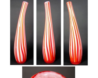 Hand Blown Art Glass Vase Red White Stripe Moderne Mid Century Organic 17.5 tall