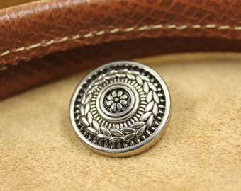 Metal Buttons - Grass Wreath Concho Style Gunmetal Metal Shank Buttons , 0.87 inch , 6 pcs