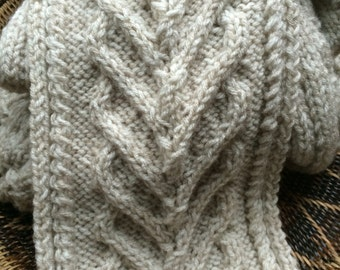 Gorgeous hand knitted wool scarf, mens and women's scarf, oatmeal color scarf for men or women, cable knit scarves