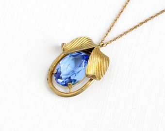 Vintage Art Deco Blue Glass Stone Brass Leaf Pendant Necklace - 1930s Oval Simulated Sapphire Leaves Charm on 12k Gold Filled Chain Jewelry