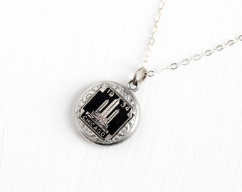 Vintage Chicago 1934 World's Fair Pendant Necklace - Art Deco Black Enamel 1930s Silver Tone Century of Progress Fob Sterling Chain Jewelry