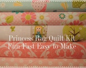 Princess, Dream and a Wish Fabric, Designer Rag Quilt Kit,  Easy to Make, Personalized, Bin D, Optional Sewing Available