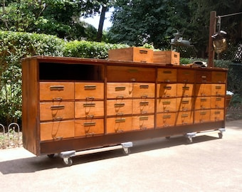 Antique Vintage Mercantile Wood Cabinet / Storage Organization / 31 Drawer Cabinet / Old Wood Cabinet with Drawers / Supplies Storage