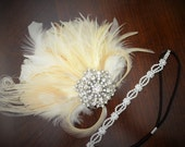 Gatsby Bridal Champagne and Ivory Peacock Feather Headpiece,High Sparkle rhinestone brooch,1920s Peacock feather headband, Art Deco clip