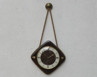 Junghans Wood & Brass Rope Wall Clock,Updated Quartz Movement
