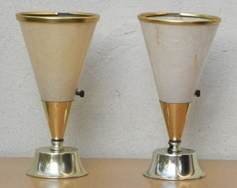 Pair Small Dresser Torchier Lamps in Gold & Fiberglass Shades