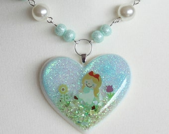 Alice in Wonderland Heart Resin Necklace