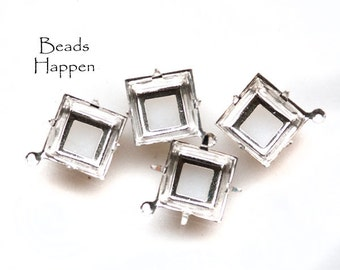14mm Square Settings with One  1 Loop Ring, Open Backs, Plated in Sterling Silver, Settings for 14mm Square stones, Quantity 4
