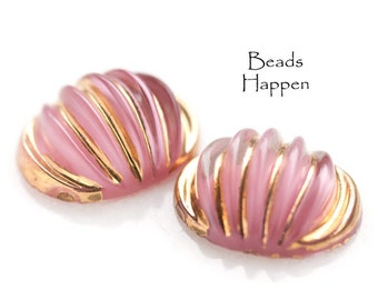 18x14mm Pink and Gold Oval Glass Cabochons With Spiral Patterning, Vintage, Glass Ovals, Cabochons, Cabs, Quantity 2