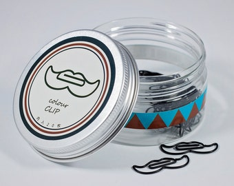 Mustache Paper Clips - Black - 20 Pieces in Storage Jar